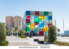 The new Malaga Pop-Up museum is housed in the large glass cube situated at the newly renovated port Malaga Spain, Glass Cube, Places In Europe, Spain Travel, Pop Up, Centre, Photo Editing, Royalty Free Stock Photos, Museum