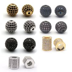 Micro Pave Black CZ Round Spacer Beads for DIY Bracelet Charms Jewelry Handmade 7mm 1PCS