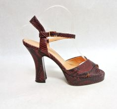 leather snake print heels vintage made in Italy oxblood wine leather size 7.5 #Divina #Strappy
