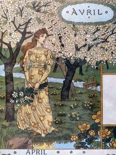 """Eugène GRASSET Calendrier """"La Belle Jardinière"""" 1896 - avril"""