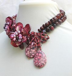 Garnet,Jade, Mop Handwoven Flower Necklace