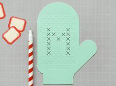 Cross Stitch Mitten Card on Etsy, $5.35