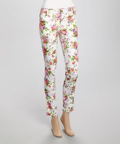 Another great find on #zulily! White Floral Skinny Pants by Sans Souci #zulilyfinds