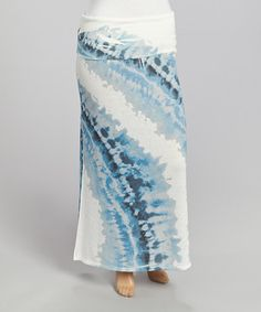 Another great find on #zulily! Blue Tie-Dye Maxi Skirt - Plus by Poliana Plus #zulilyfinds