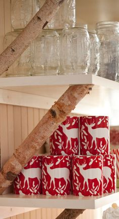 Birch shelf supports. Christmas at the Cabin - Traditional Home®
