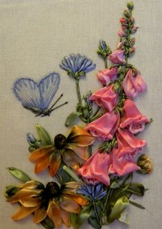 flowers silk ribbon embroidery