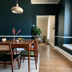 Dark blue with green undertones premium interior wall paint in durable semi-matte Standard Finish with low odor and low VOCs (volatile organic compounds). Best Blue Paint Colors, Dining Room Colors, Interior Walls, Home Remodeling, Surfing, Nyc Studio, Main Street, Apartment Ideas, Surf