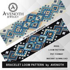 loom bracelet pattern, loom pattern, loom stitch, square stitch pattern, beading pattern, pdf file, pdf pattern, cuff, #004L