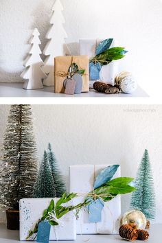 Drei DIY Ideen rund um Weihnachten - Schenken und Dekorieren: Geschenkanhänger aus Holz bemalen, Papier mit Farbe besprenkeln Wrapping Ideas, Christmas Gift Wrapping, Christmas Gifts, Diy Weihnachten, Floating Shelves, Wraps, Home Decor, Diy Gift Tags, Present Wrapping