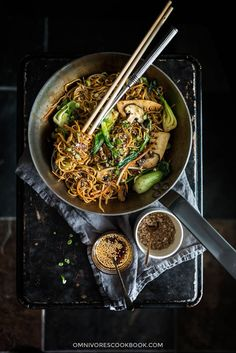 Introducing the best noodle sauce to make this scrumptious and authentic Vegetarian Chow Mein. {Vegan, Gluten-free adaptable}