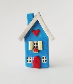 Blue Ceramic House | Clay House | Ceramic House | Whimsical House | Blue House | Clay Cottage | Little House | Heart Home by HeartHomes on Etsy
