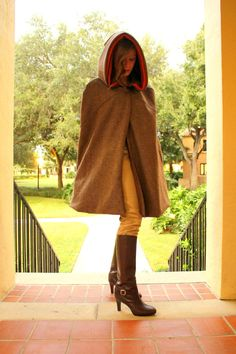Brown Hooded Cape by madelinzero on Etsy, $275.00