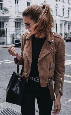 brown suede moto jacket + all black