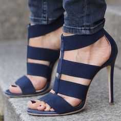 FSJ Style Sandal Shoes Fall Fashion Navy Strappy Open Toe Stiletto Heels Sandals Spring Outfit 2018 Womens Fashion Chic Illustration Elegant Prom Shoes New Year Holiday Party Outfit 2018  FSJ