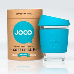 Coffee cup packaging design for Joco... fantastic contrast between the natural-looking paper, black, white, and turquoise.