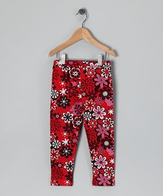 Take a look at this Red Snow Flower Leggings - Infant & Toddler by CR Cute on #zulily today!