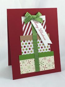 Crafting 4 Fun: Stack of Gifts Card Simple Christmas Cards, Homemade Christmas Cards, Christmas Greeting Cards, Greeting Cards Handmade, Handmade Christmas, Homemade Cards, Tarjetas Diy, Winter Cards, Paper Cards