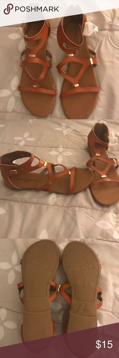 Brand New Sandals!! BNWOT. Cute sandals with gold accents and cognac leather. Shoes Sandals
