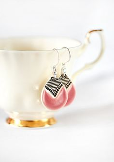 Pink earrings Ceramic earrings Pink dangle by ZuDesignJewelry