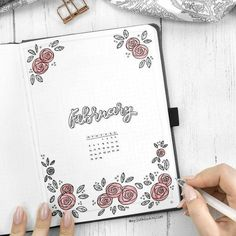 Little doodles especially the floral ones go a long way in a bullet journal. Thi… Little doodles especially the floral ones go a long way in a bullet journal. This beautiful bullet journal cover decorated by rose doodles is a creation of insta Bullet Journal Planner, February Bullet Journal, Bullet Journal Set Up, Bullet Journal Themes, Bullet Journal Layout, Bullet Journal Inspiration, Bullet Journals, Journal Ideas, Sakura Pigma Micron