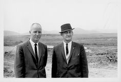 "Tom Rosser, Principal, and Axel Jensen, Assistant Superintendant visit construction site of Thousand Oaks High School, 1962.  LHP00138a  There are no known U.S. copyright restrictions on this image. The Thousand Oaks Library requests that, when possible, the credit statement should read: ""Image courtesy of Conejo Through the Lens, Thousand Oaks Library."""