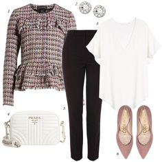 tweed jacket, work outfit, how to dress for work, sam edelman pumps, black pants, trousers, women fashion, chanel jacket Cute Professional Outfits, Business Casual Outfits For Work, Work Casual, Work Outfits, Cute Outfits, Chanel Jacket, Work Looks, Work Wardrobe, Tweed Jacket