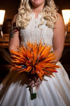 Caitlyn's Animal Kingdom Disney Wedding bouquet made entirely of bird of paradise!