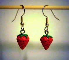 Ohrringe Erdbeere Damen Hänger Durchzieher Ohrschmuck Modeschmuck Neuware