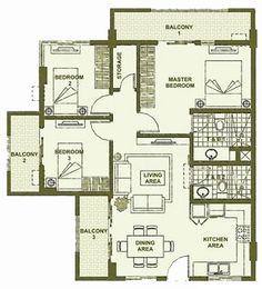 Accolade Place - 3-Bedroom Unit Floor Plan B #condoLiving #realEstate #manilacondo www.mymanilacondo.com Dining Area, Kitchen Dining, Quezon City, Manila Philippines, Luxury Condo, Condo Living, Condos For Sale, Condominium, Floor Plans