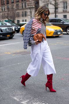 Red, white & blue stripes with Culottes, Looking cool @ N.Y Fashion Week Feb 2016