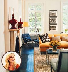 Modern, colorful living room: Blue + yellow + graphic prints