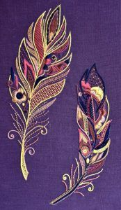 Plumes Glazig kit Glazig Ecole de Broderie d'Art Pascal Jaouen Quimper Feathers embroidery and beads Crewel Embroidery, Hand Embroidery Patterns, Beaded Embroidery, Cross Stitch Embroidery, Machine Embroidery, Embroidery Thread, Seed Stitch, Embroidery Techniques, Textile Art