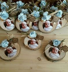 Discover thousands of images about Fotoğraflı Bebek Magnet - Baptism Party, Boy Baptism, Christening, Baptism Decorations, Baby Shower Decorations, Wedding Decorations, Baby Crafts, Diy And Crafts, Baby Shawer