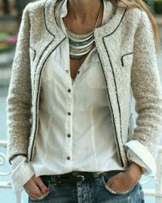 chanel look with jeans and pearls
