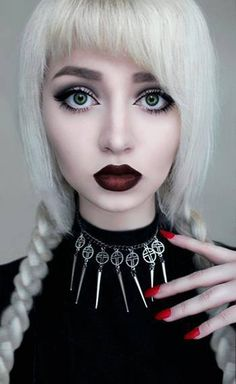 Gothic Albino Makeup. So. Perfect. White Hair. Red Nails. Pale Skin.