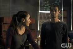 "The 100 -- ""Terms and Conditions"" -- Image HU308b_0183 -- Pictured (L-R): Lindsey Morgan as Raven and Devon Bostick as Jasper -- Credit: Katie Yu/The CW -- © 2016 The CW Network, LLC. All Rights Reserved"