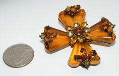 Beautiful Lucite Rhinestone MALTESE CROSS Pin BROOCH modern contemporary costume | eBay sold