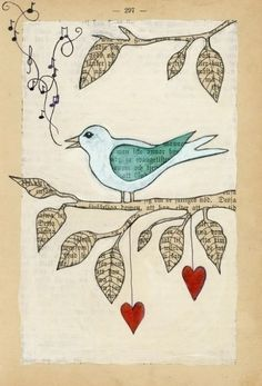 love song bird illustration painted on a. - love song bird illustration painted on a vintage book page - Art Journal Pages, Journal D'art, Art Journals, Book Page Crafts, Book Page Art, Art Altéré, Love Birds Painting, Painting Art, Paintings