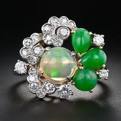 Vintage Opal, Jade and Diamond Ring