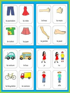 This set has 470 flashcards for your French lessons. They are a great visual help for introducing French vocabulary and cover all major topics from adjectives to weather. French Flashcards, Flashcards For Kids, French Worksheets, Color Flashcards, French Language Lessons, French Language Learning, Dual Language, Foreign Language, Spanish Lessons