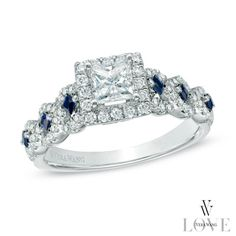 The ring's shank glistens with shimmering princess-cut blue sapphires and shimmering round accent diamonds.