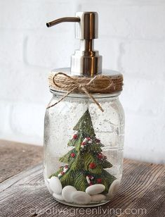 How to turn a mason jar into a snow globe soap pump dispenser - just in time for Christmas!