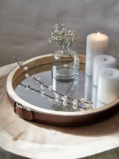 Mirrored Wooden Tray