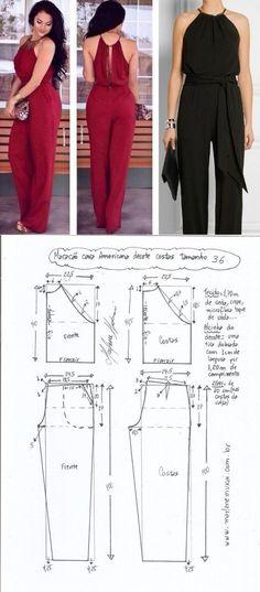 Easy Sewing Patterns, Clothing Patterns, Dress Patterns, Jumpsuit Pattern, Pants Pattern, Fashion Sewing, Diy Fashion, Clothing Hacks, Sewing Basics