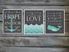 Nursery art Set of 3 Nautical Prints based on Bible verses, Water, WHALE, and ANCHOR 8x10s