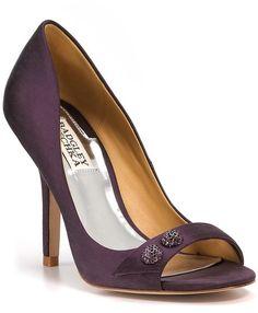 Badgley Mischka Banner Peeptoe Pumps in Purple (plum satin) - Lyst