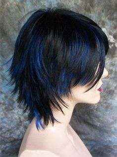 Goth Jet Black with Blue highlights Wig/Wigs in Clothes, , Womens Accessories, Other Womens Accessories Hair Streaks, Hair Highlights, Black Hair With Blue Highlights, Cut My Hair, New Hair, Shot Hair Styles, Long Hair Styles, Aesthetic Hair, Pretty Hairstyles