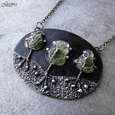Šepot lesa náhrdelník vltavín - Whispering forest moldavite necklace | GERMIA - Autorské šperky