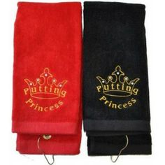 Embroidered Putting Princess Black or Red Golf Towel Embellished with Swarovski Crystals. Bring onto the course - Functional Fashionable Fun! Lpga Players, Embroidered Towels, Golf Towels, Golf Gifts, Golf Accessories, Golf Fashion, Drink Sleeves, Sport Outfits, Swarovski Crystals