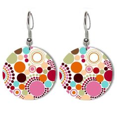 Acrylic Earrings in Multicolored Polka Dot Print by kailochic